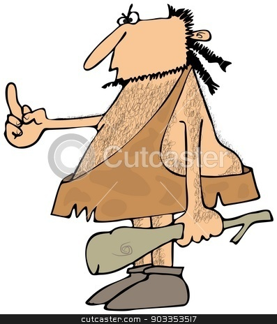 Caveman flipping the bird stock photo, This illustration depicts a caveman holding a wooden club and flipping the bird with his other hand. by Dennis Cox