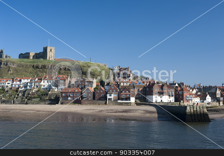 St Mary's Church, Tate Hill, Whitby stock photo, St Mary's Church, Tate Hill, Whitby overlooking the harbour and entrance to the river is a historical medieval landmark where Bram Stokers film on Dracula was filmed by Stephen Gibson