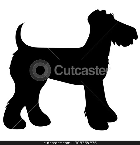 Airedale Terrier Silhouette stock vector clipart, A cartoon black silhouette of an Airedale Terrier by Maria Bell