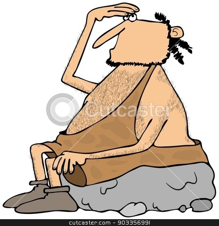 Caveman looking up stock photo, This illustration depicts a caveman seated on a boulder looking upwards while shading his eyes. by Dennis Cox