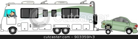 Motorhome towing a car on a dolly stock photo, This illustration depicts a class A motorhome towing a small car on a dolly. by Dennis Cox