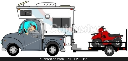 Truck & camper pulling ATV's stock photo, This illustration depicts a man driving a truck & camper pulling 2 ATV's on a trailer. by Dennis Cox