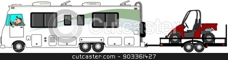 Motorhome towing a UTV stock photo, This illustration depicts a Class A motorhome towing a trailer with a red side by side UTV. by Dennis Cox