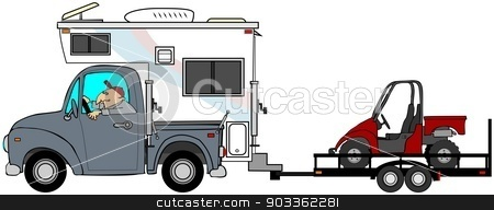Truck & camper towing a UTV stock photo, This illustration depicts a man driving a truck and camper pulling a trailer with a side-by-side ATV. by Dennis Cox