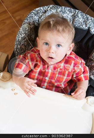 Suprised Baby stock photo, A surprised baby looks up at you by Scott Griessel