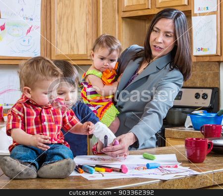 Mother Plays With Children stock photo, A mother in the kitchen plays with her chilrdren by Scott Griessel