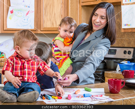 Mother Plays With Children stock photo, A mother in the kitchen plays with her babies by Scott Griessel
