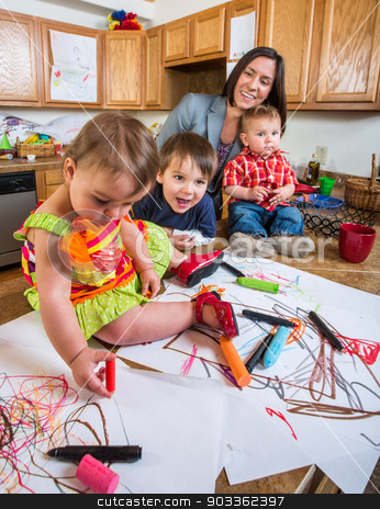 Family in Kitchen stock photo, Family spending time together in the kitchen by Scott Griessel