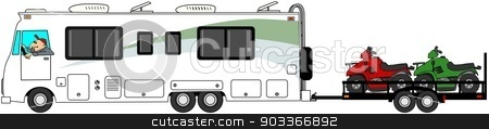 Motorhome towing ATV's stock photo, This illustration depicts a Class A motorhome towing a trailer with 3 ATV's. by Dennis Cox