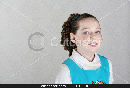 Smiling Irish Female Child stock photo, Cute little Irish girl with curls next to copy space by Scott Griessel
