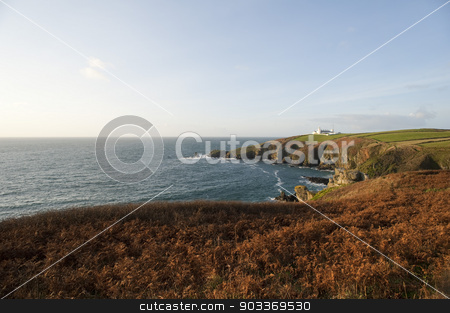 Lizard Point in Cornwall, UK stock photo, Lizard Point in Cornwall, UK with the historical Lizard Point Lighthouse , the most southerly point on mainland Great britain by Stephen Gibson
