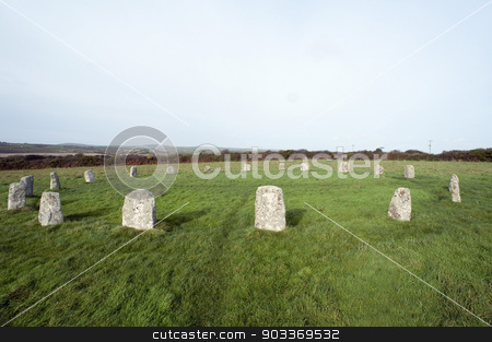 The Merry Maidens Stone Circle in Cornwall stock photo, The Merry Maidens Stone Circle in Cornwall one of the best preserved Neolithic circles in Cornwall with nineteen granite megaliths by Stephen Gibson