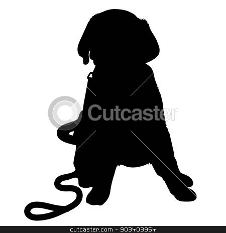 Labrador Puppy Silhouette stock vector clipart, A black silhouette of a Labrador Retriever puppy with a leash by its side by Maria Bell