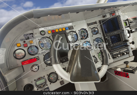 Cockpit of a Cessna Airplane. stock photo, Detailed Cockpit of a Cessna Airplane. by Andy Dean