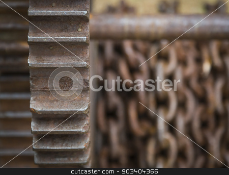 Rusty Gears and Chain Background stock photo, Old Rusty Gears and Chain Background. by Andy Dean