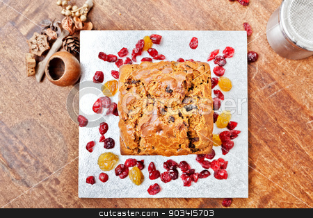 Christmas cake from above stock photo, Christmas cake on silver plate from above  by Dario Rota
