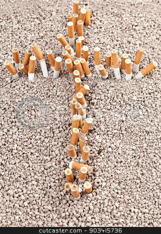 Cross of cigarettes stock photo, Cross made of cigarettes is a concept: smoking leads to death by Dario Rota