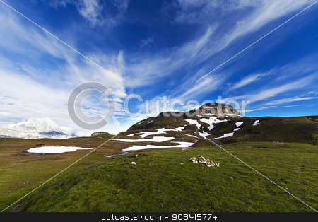 Mountaing landscape stock photo, Alpine landscape with green grass and blu sky by Dario Rota