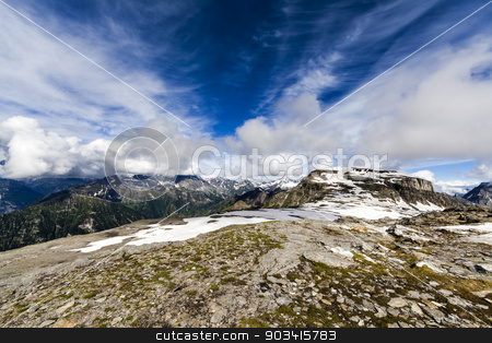 Mountain rocky landscape stock photo, Alpine landscape with rocks, sky and clouds  by Dario Rota