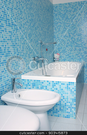 Blue bathroom stock photo, Blue bathroom closeup by Dario Rota