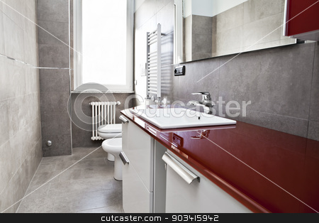 Red bathroom stock photo, Red bathroom with toilette, bidet, heater, lavabo and mirror  by Dario Rota