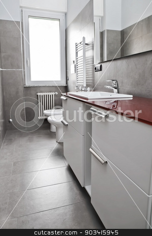 Red bathroom vertical stock photo, Red bathroom with toilette, bidet, heater, lavabo and mirror  by Dario Rota