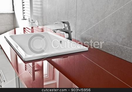 Red lavabo board closer stock photo, Bathroom red lavabo board with translucent surface  by Dario Rota
