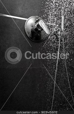Shower water entire dark stock photo, Shower handle with water falling in the darkness  by Dario Rota