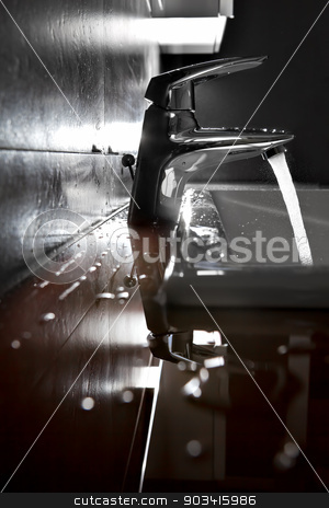 Sink closeup backlight stock photo, Bathroom sink silhouette lighted by backlight  by Dario Rota