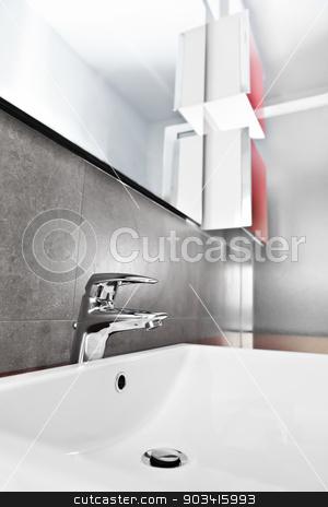 Sink closeup furniture stock photo, Bathroom white porcelain sink closeup with red furniture by Dario Rota