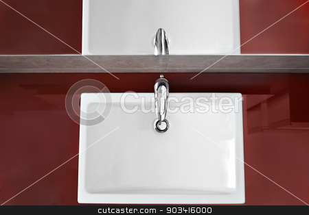 Sink view from above stock photo, Bathroom sink and mirror reflection from above  by Dario Rota