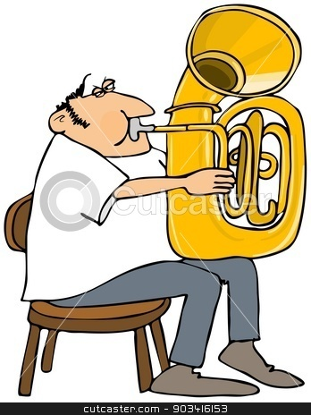 Tuba player stock photo, This illustration depicts a man playing a tuba. by Dennis Cox