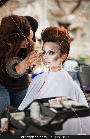 Pretty Actress with Eyeliner stock photo, Aesthetician working on circus actress eyeliner outdoors by Scott Griessel