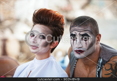 Attractive Cirque Performers stock photo, Attractive mixed male and female cirque performers backstage by Scott Griessel