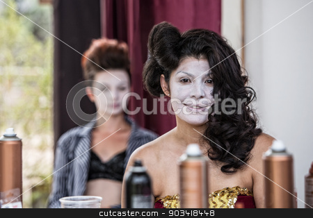 Cute Female in White Makeup stock photo, Grinning young female cirque clown smiling backstage by Scott Griessel