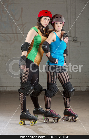 Serious Roller Derby Buddies stock photo, Serious adult female roller derby skaters as friends by Scott Griessel