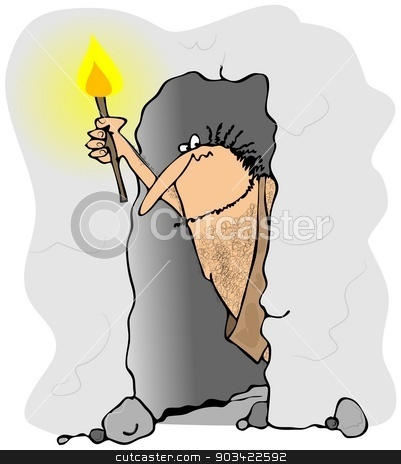 Caveman peering out of a cave stock photo, This illustration depicts a caveman holding a torch peering out of a cave. by Dennis Cox