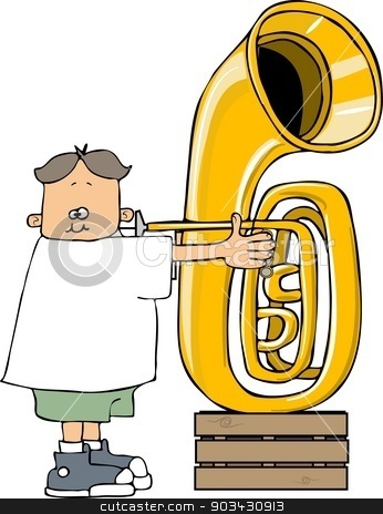 Boy playing a tuba stock photo, This illustration depicts a small boy playing a large tuba. by Dennis Cox