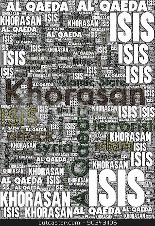 KHORASAN stock photo, KHORASAN, ISIS and Al Qaeda word cloud on white background. by Henrik Lehnerer