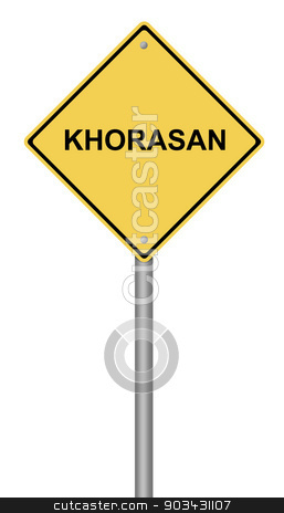 Warning Sign KHORASAN stock photo, Yellow warning sign with the text KHORASAN on white background. by Henrik Lehnerer