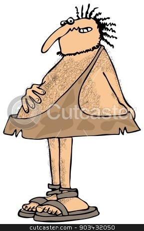 Caveman with an upset stomach stock photo, This illustration depicts a caveman holding his stomach and butt because of an upset stomach. by Dennis Cox