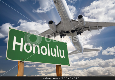Honolulu Green Road Sign and Airplane Above stock photo, Honolulu Green Road Sign and Airplane Above with Dramatic Blue Sky and Clouds. by Andy Dean