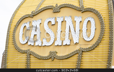 Antique Casino Sign on Building stock photo, Antique Casino Sign with Lights on Building. by Andy Dean