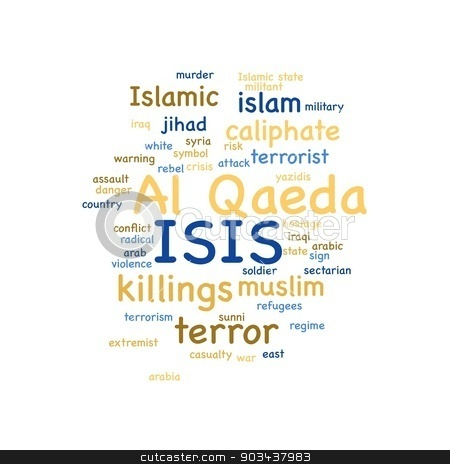 ISIS stock photo, ISIS and Al Qaeda word cloud on white background. by Henrik Lehnerer