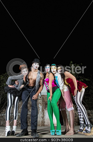 Five Cirque Clowns stock photo, Group of five cirque clowns on stage by Scott Griessel