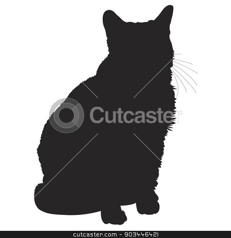 Cat Silhouette 1 stock vector clipart, A black silhouette of a sitting cat by Maria Bell