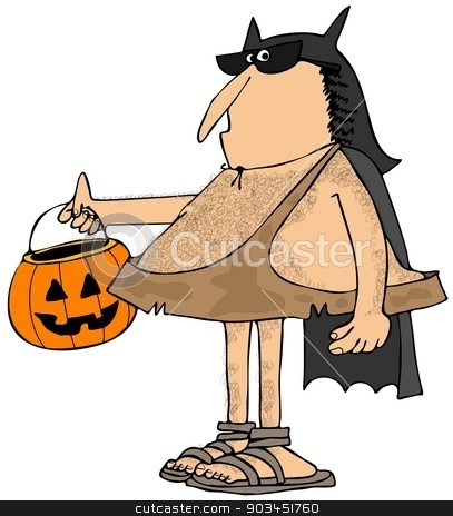 Caveman dressed up as a bat stock photo, This illustration depicts a caveman dressed up in a bat costume and holding a jack-o-lantern pumpkin. by Dennis Cox