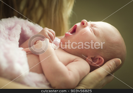 Hands of Mother Holding Her Newborn Baby Girl stock photo, Gentle Hands of Mother Holding Her Precious Newborn Baby Girl. by Andy Dean