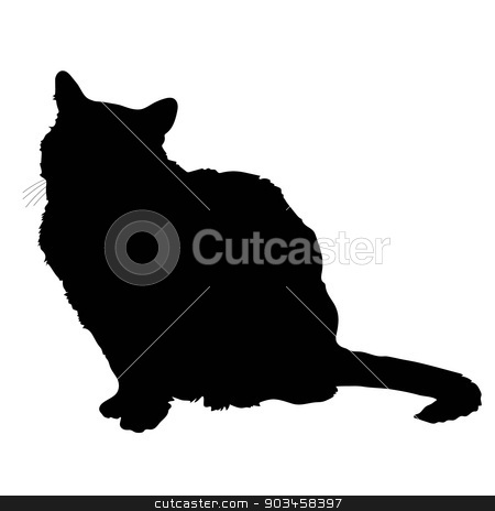 cat silhouette 2 stock vector clipart, A black silhouette of a sitting cat by Maria Bell