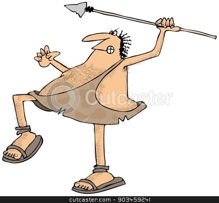 Caveman throwing a spear stock photo, This illustration depicts a caveman about to throw a spear. by Dennis Cox